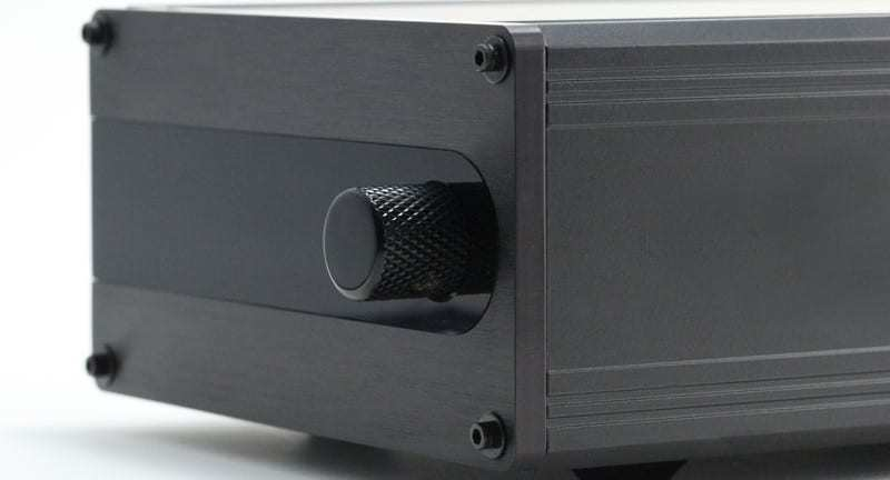 ldr3.V25 passive preamp - black anodized front - side view