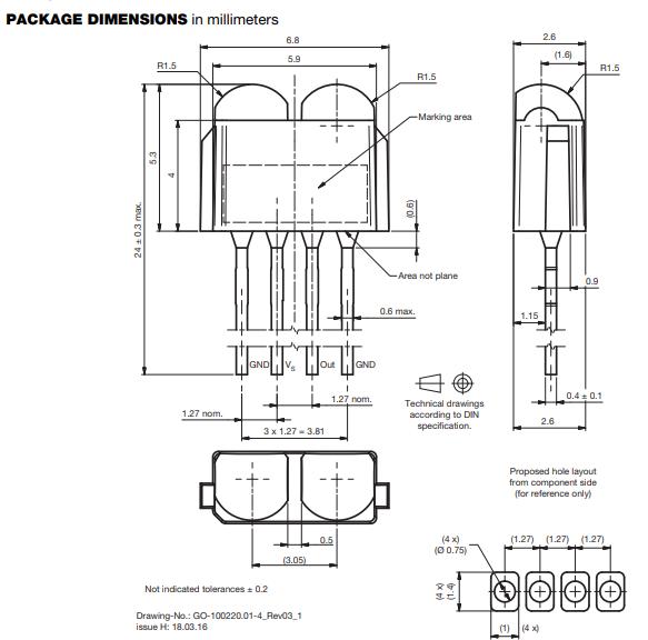 TSOP39438 IR receiver module dimensions